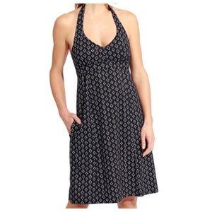Athleta black printed Pack Anywhere halter dress